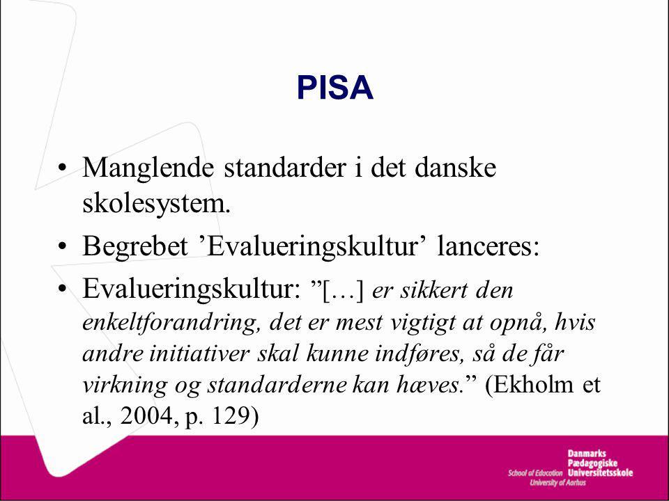PISA Manglende standarder i det danske skolesystem.