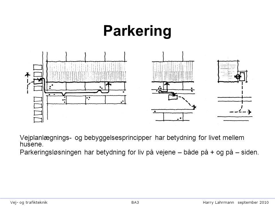 BA3Harry Lahrmannseptember 2010Vej- og trafikteknik Parkering Vejplanlægnings- og bebyggelsesprincipper har betydning for livet mellem husene.