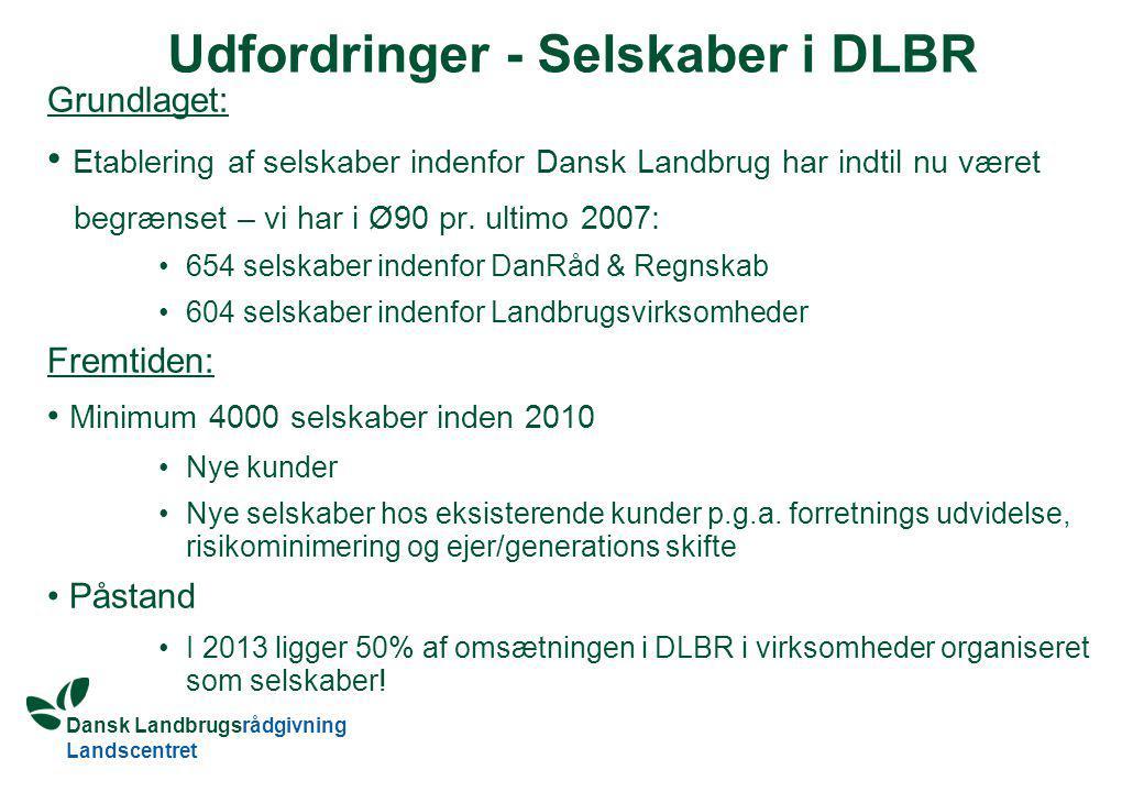 Dansk Landbrugsrådgivning Landscentret Udfordringer - Selskaber i DLBR Grundlaget: Etablering af selskaber indenfor Dansk Landbrug har indtil nu været begrænset – vi har i Ø90 pr.