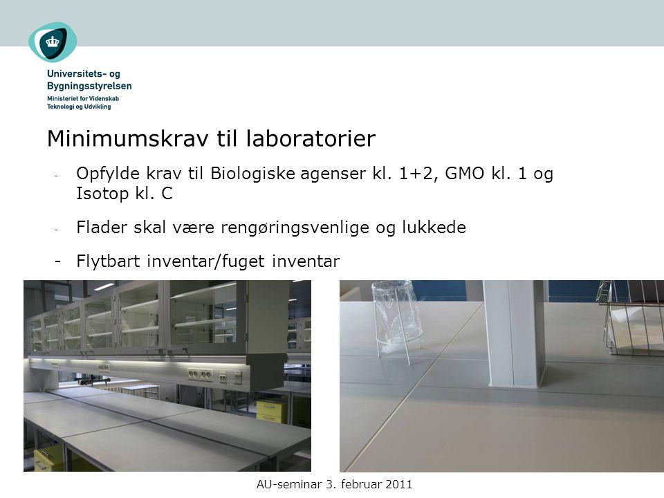 Minimumskrav til laboratorier AU-seminar 3. februar 2011 - Opfylde krav til Biologiske agenser kl.
