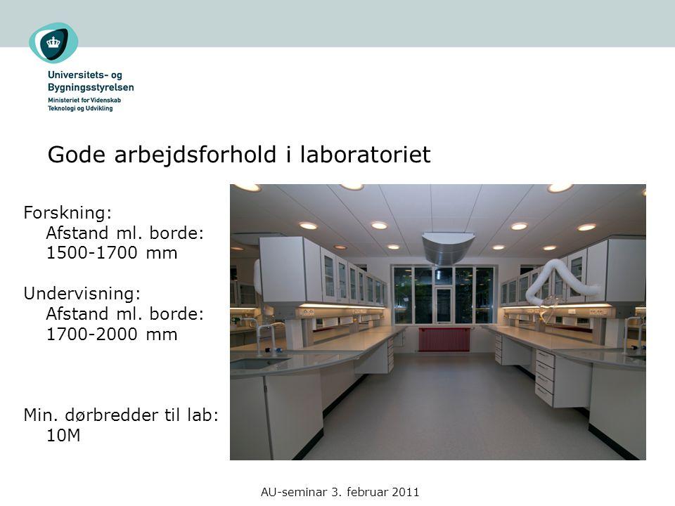 Gode arbejdsforhold i laboratoriet AU-seminar 3. februar 2011 Forskning: Afstand ml.