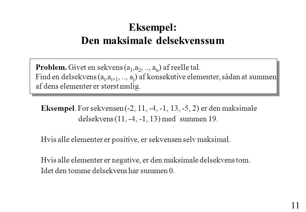11 Eksempel: Den maksimale delsekvenssum Problem.