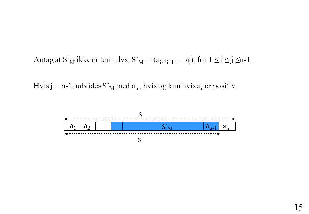15 Hvis j = n-1, udvides S' M med a n, hvis og kun hvis a n er positiv.