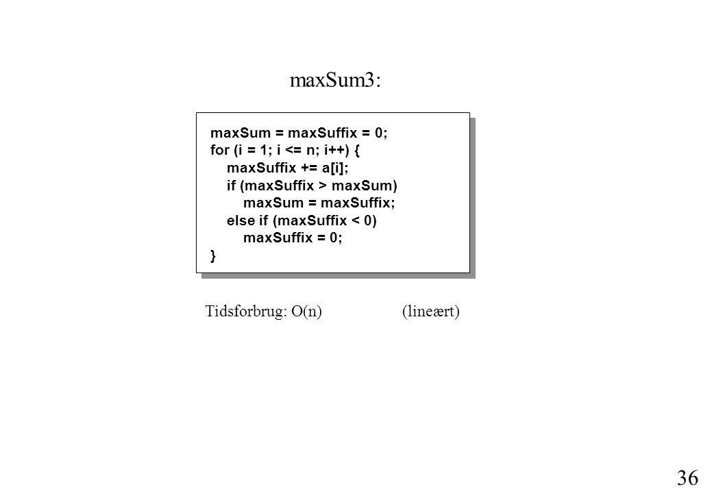 36 maxSum = maxSuffix = 0; for (i = 1; i <= n; i++) { maxSuffix += a[i]; if (maxSuffix > maxSum) maxSum = maxSuffix; else if (maxSuffix < 0) maxSuffix = 0; } Tidsforbrug: O(n)(lineært) maxSum3: