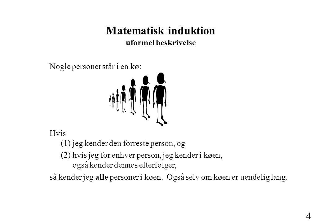 4 Matematisk induktion uformel beskrivelse Hvis (1) jeg kender den forreste person, og (2) hvis jeg for enhver person, jeg kender i køen, også kender dennes efterfølger, så kender jeg alle personer i køen.