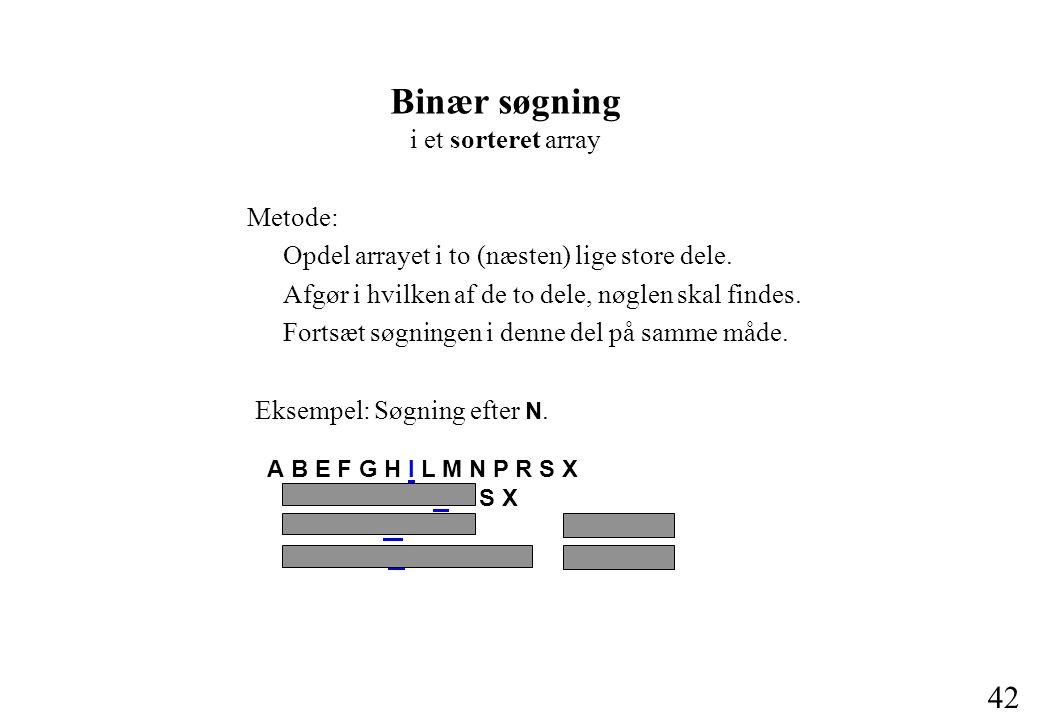 42 Binær søgning i et sorteret array Metode: Opdel arrayet i to (næsten) lige store dele.