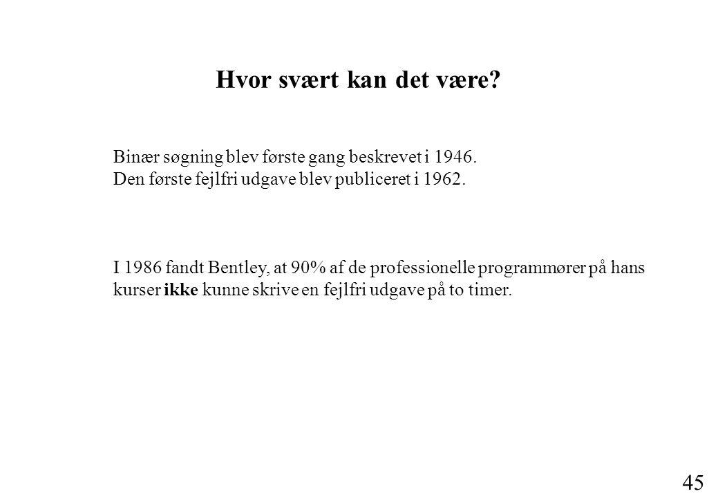 45 Binær søgning blev første gang beskrevet i 1946.