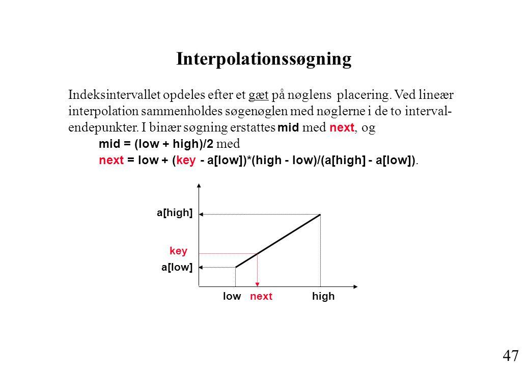 47 Interpolationssøgning Indeksintervallet opdeles efter et gæt på nøglens placering.