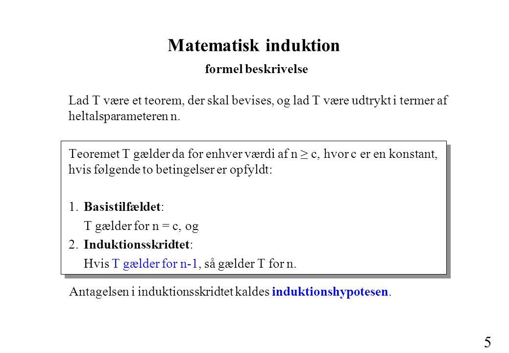 5 Lad T være et teorem, der skal bevises, og lad T være udtrykt i termer af heltalsparameteren n.