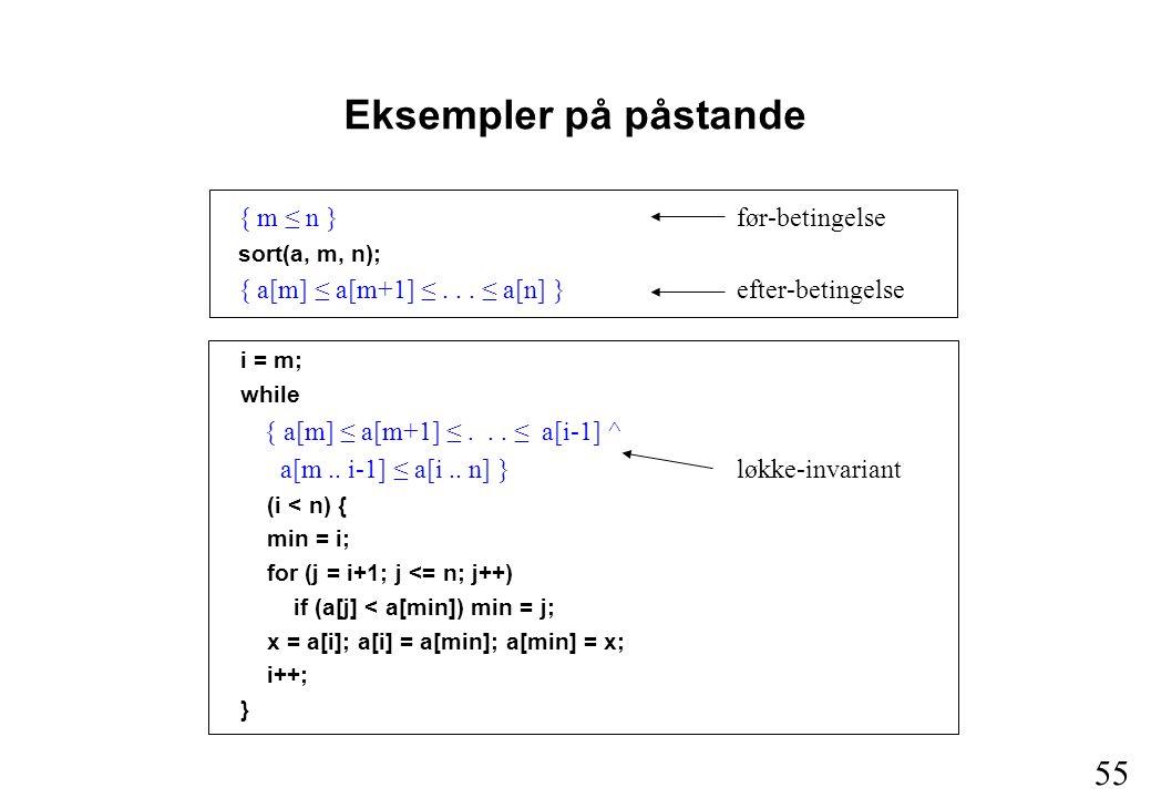 55 { m ≤ n }før-betingelse sort(a, m, n); { a[m] ≤ a[m+1] ≤...