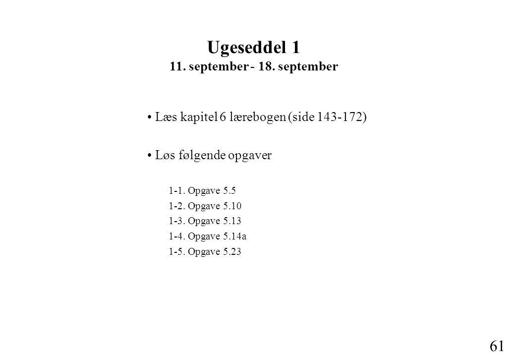 61 Læs kapitel 6 lærebogen (side 143-172) Løs følgende opgaver 1-1.
