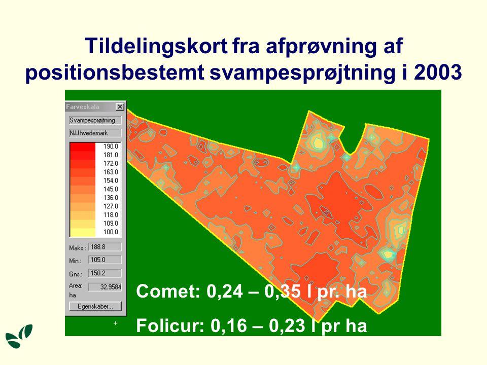Tildelingskort fra afprøvning af positionsbestemt svampesprøjtning i 2003 Comet: 0,24 – 0,35 l pr.