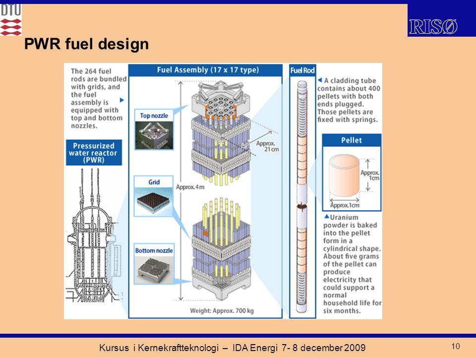 Kursus i Kernekraftteknologi – IDA Energi 7- 8 december 2009 10 PWR fuel design