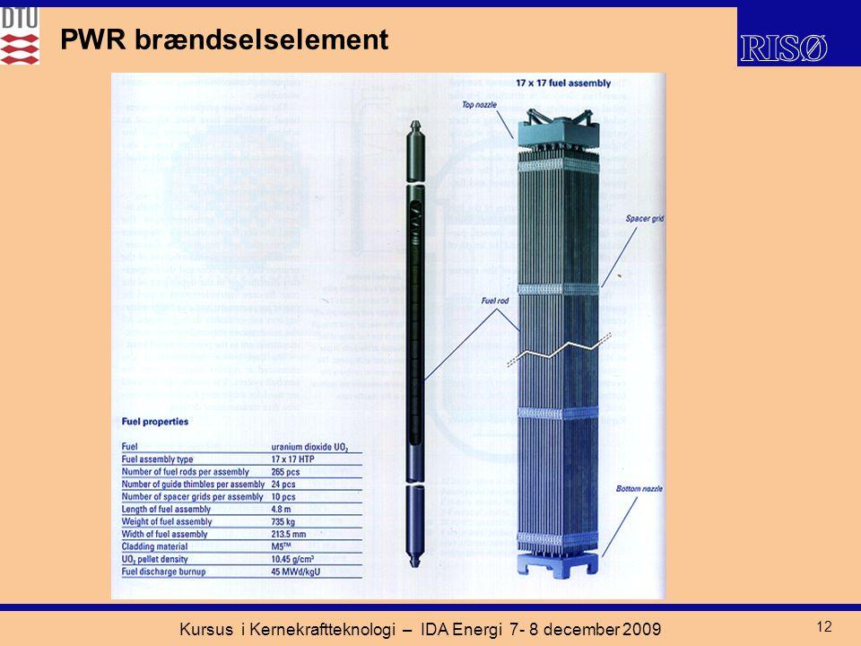 Kursus i Kernekraftteknologi – IDA Energi 7- 8 december 2009 12 PWR brændselselement