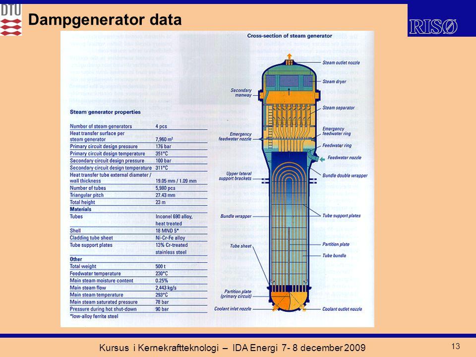 Kursus i Kernekraftteknologi – IDA Energi 7- 8 december 2009 13 Dampgenerator data