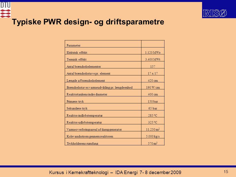 Kursus i Kernekraftteknologi – IDA Energi 7- 8 december 2009 15 Typiske PWR design- og driftsparametre Parameter Elektrisk effekt1.120 MWe Termisk effekt3.400 MWt Antal brændselselementer157 Antal brændselsstave pr.
