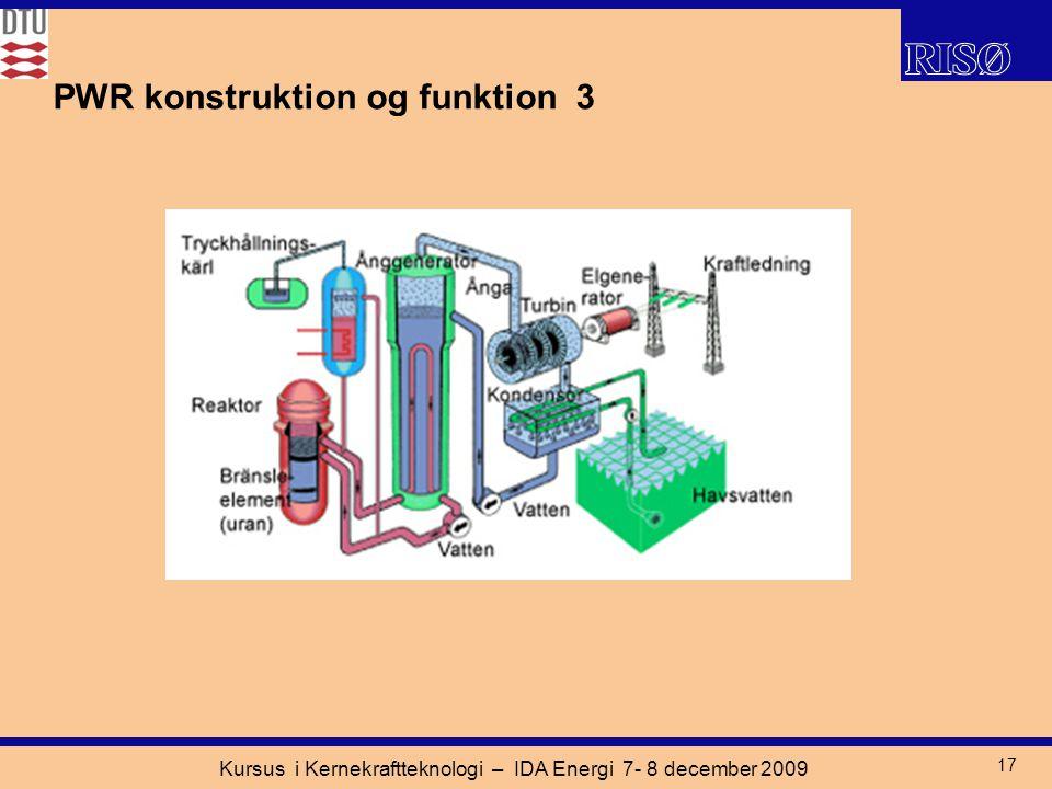 Kursus i Kernekraftteknologi – IDA Energi 7- 8 december 2009 17 PWR konstruktion og funktion 3
