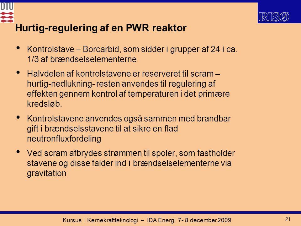 Kursus i Kernekraftteknologi – IDA Energi 7- 8 december 2009 21 Hurtig-regulering af en PWR reaktor Kontrolstave – Borcarbid, som sidder i grupper af 24 i ca.