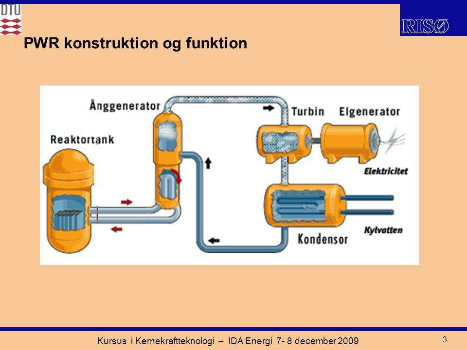 Kursus i Kernekraftteknologi – IDA Energi 7- 8 december 2009 3 PWR konstruktion og funktion