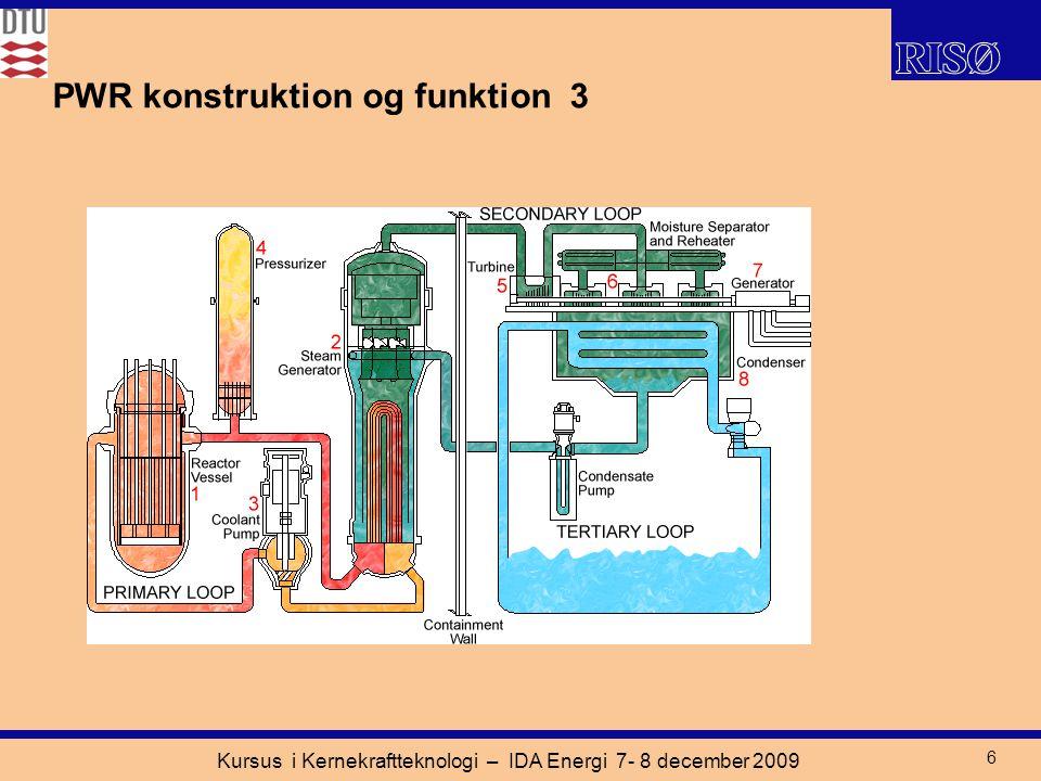 Kursus i Kernekraftteknologi – IDA Energi 7- 8 december 2009 6 PWR konstruktion og funktion 3