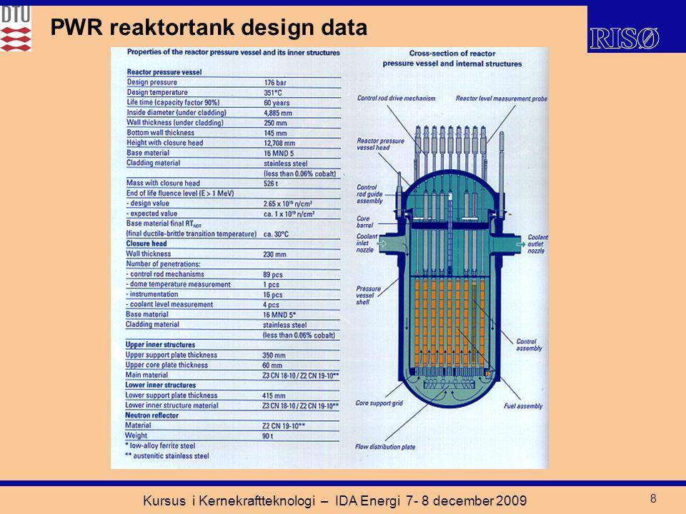 Kursus i Kernekraftteknologi – IDA Energi 7- 8 december 2009 8 PWR reaktortank design data