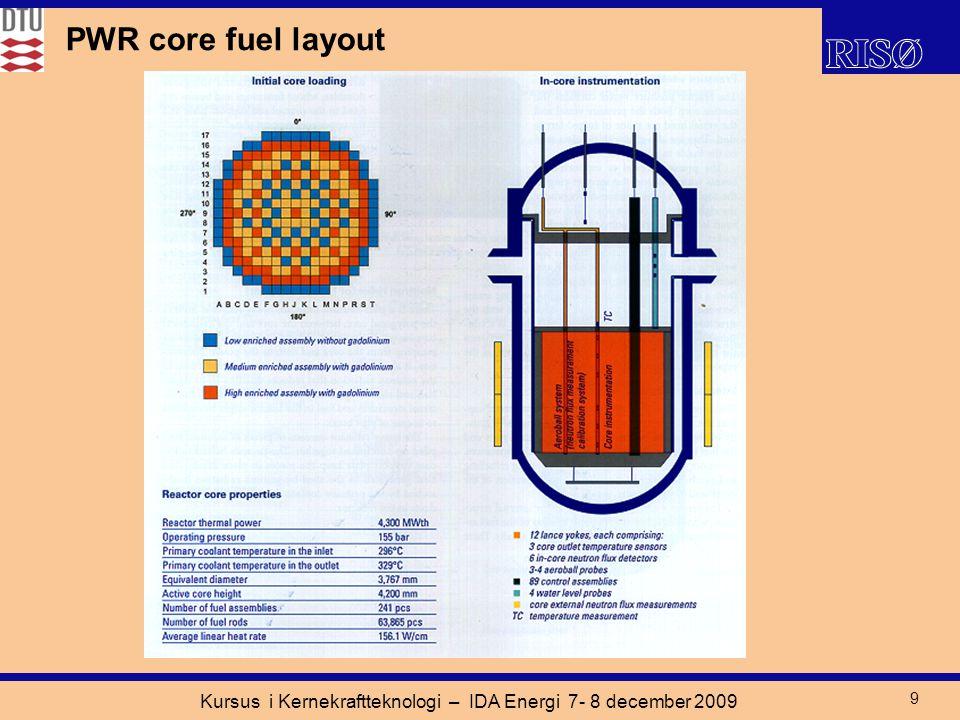 Kursus i Kernekraftteknologi – IDA Energi 7- 8 december 2009 9 PWR core fuel layout