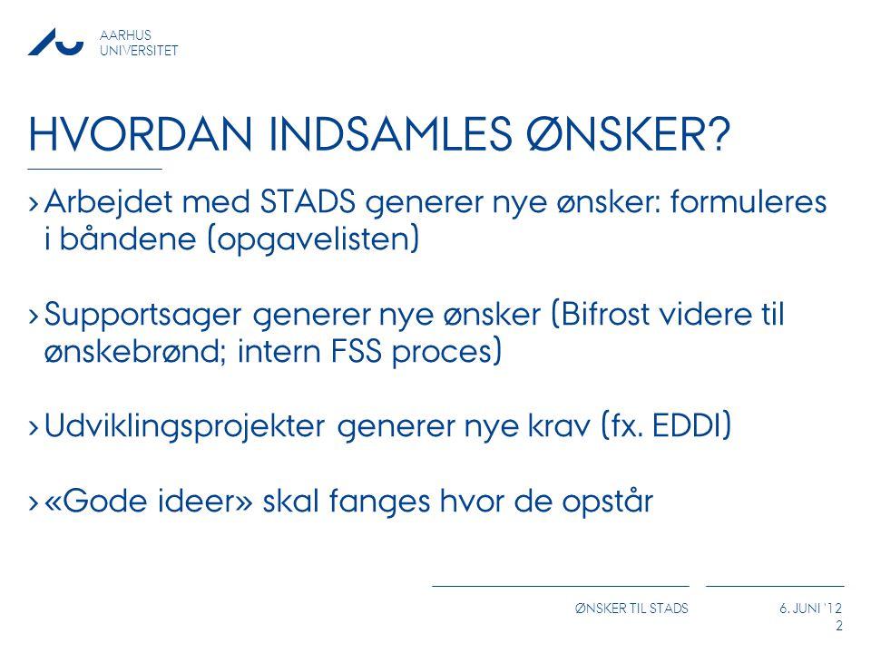 AARHUS UNIVERSITET ØNSKER TIL STADS 6. JUNI 12 HVORDAN INDSAMLES ØNSKER.