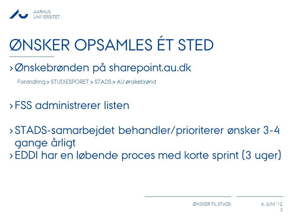 AARHUS UNIVERSITET ØNSKER TIL STADS 6.