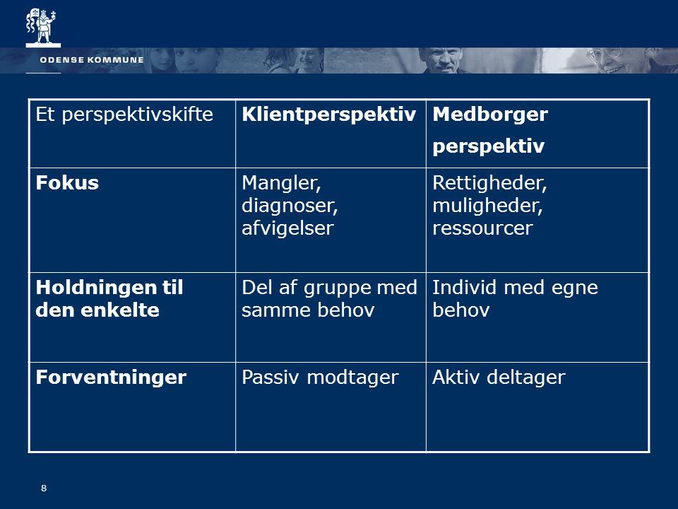 8 Et perspektivskifteKlientperspektivMedborger perspektiv FokusMangler, diagnoser, afvigelser Rettigheder, muligheder, ressourcer Holdningen til den enkelte Del af gruppe med samme behov Individ med egne behov ForventningerPassiv modtagerAktiv deltager