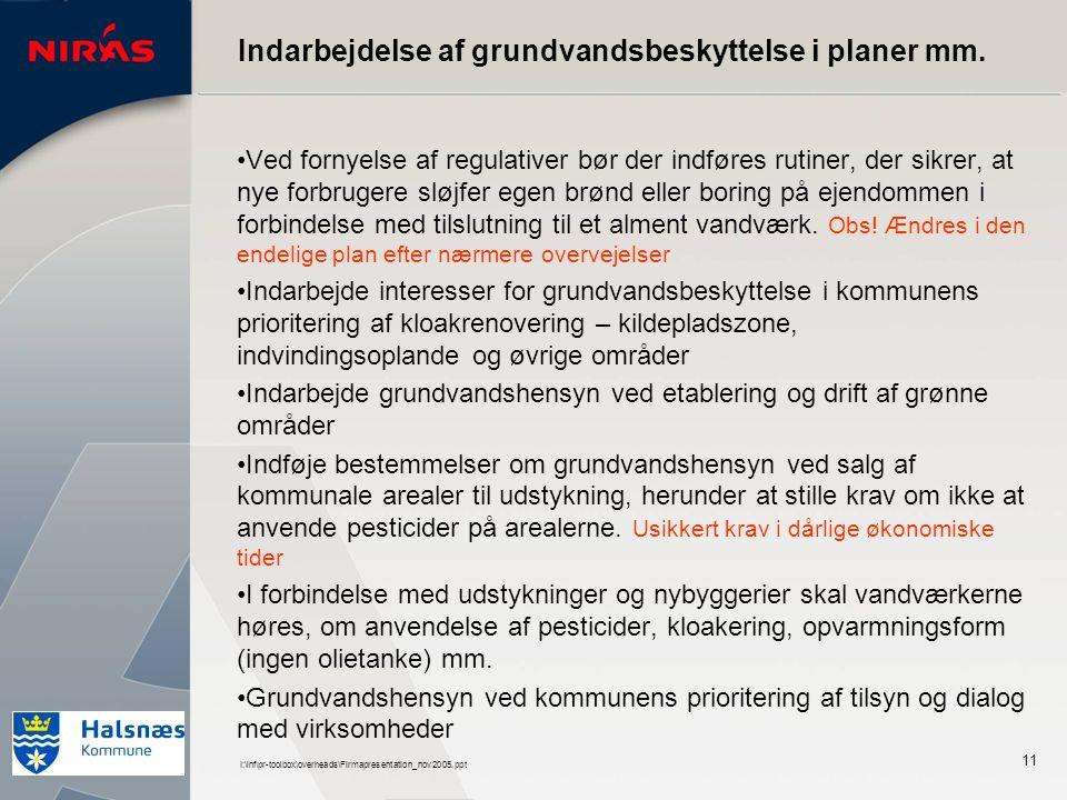 I:\inf\pr-toolbox\overheads\Firmapresentation_nov2005.ppt 11 Indarbejdelse af grundvandsbeskyttelse i planer mm.