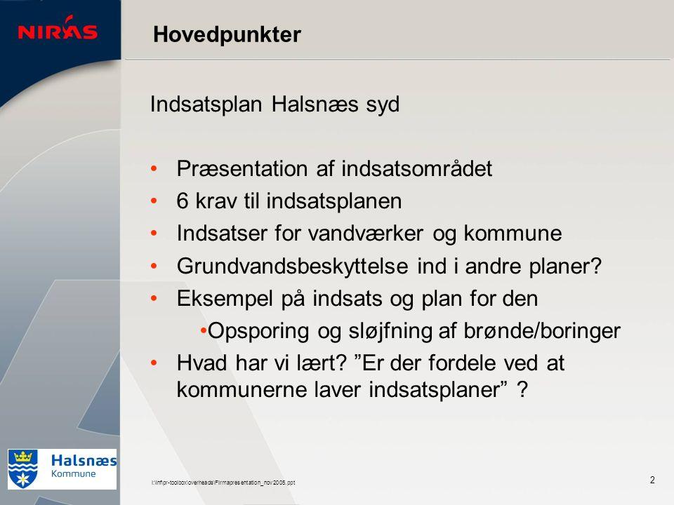 I:\inf\pr-toolbox\overheads\Firmapresentation_nov2005.ppt 2 Indsatsplan Halsnæs syd Præsentation af indsatsområdet 6 krav til indsatsplanen Indsatser for vandværker og kommune Grundvandsbeskyttelse ind i andre planer.