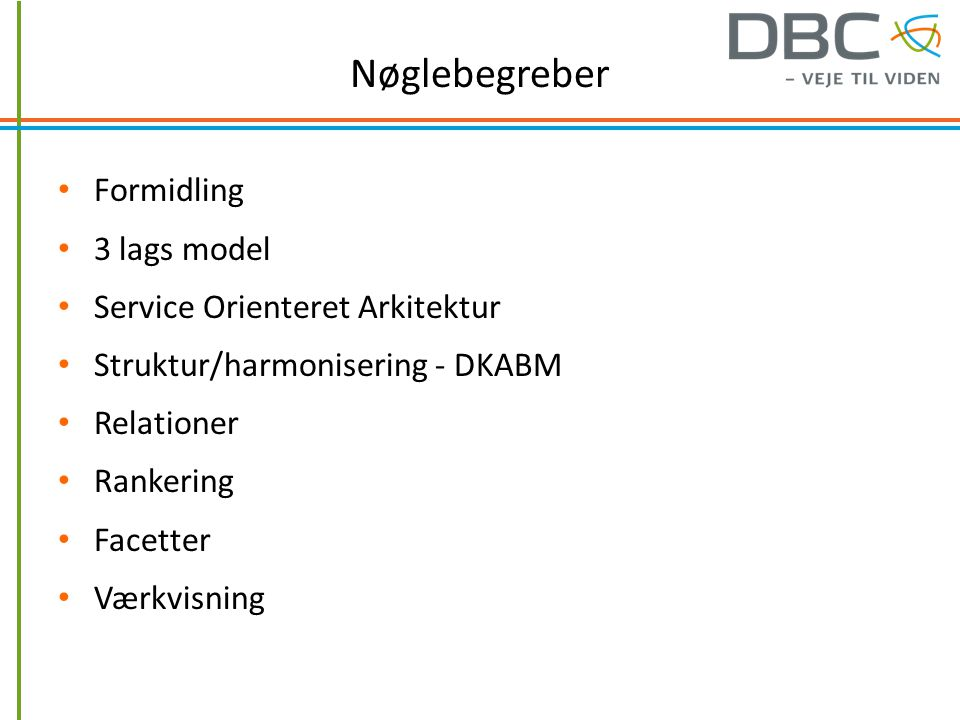 Nøglebegreber Formidling 3 lags model Service Orienteret Arkitektur Struktur/harmonisering - DKABM Relationer Rankering Facetter Værkvisning