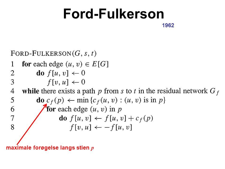 Ford-Fulkerson 1962 maximale forøgelse langs stien p