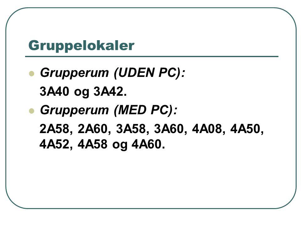 Gruppelokaler Grupperum (UDEN PC): 3A40 og 3A42.