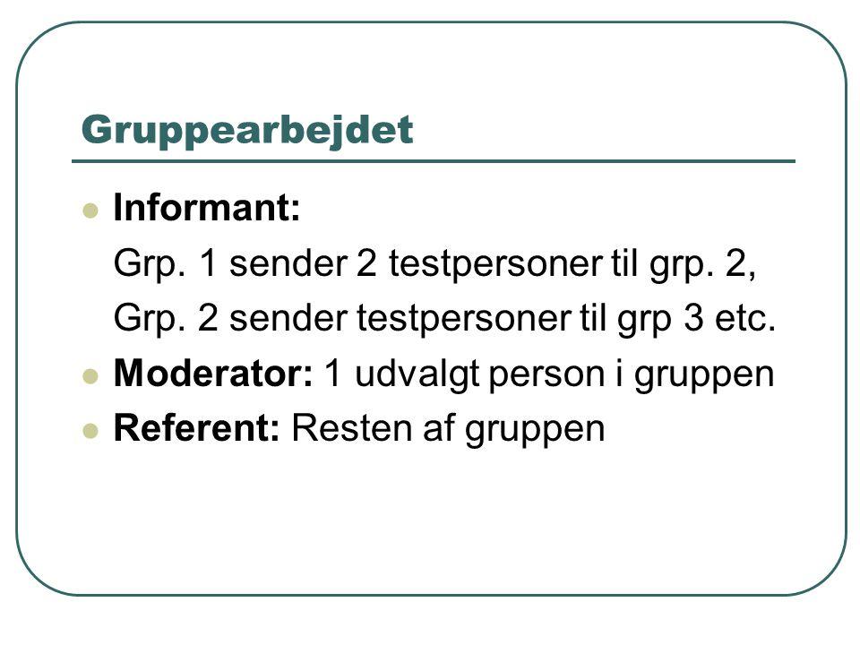Gruppearbejdet Informant: Grp. 1 sender 2 testpersoner til grp.
