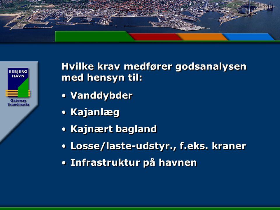 Hvilke krav medfører godsanalysen med hensyn til: Vanddybder Kajanlæg Kajnært bagland Losse/laste-udstyr., f.eks.