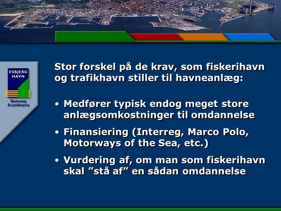 Stor forskel på de krav, som fiskerihavn og trafikhavn stiller til havneanlæg: Medfører typisk endog meget store anlægsomkostninger til omdannelse Finansiering (Interreg, Marco Polo, Motorways of the Sea, etc.) Vurdering af, om man som fiskerihavn skal stå af en sådan omdannelse Medfører typisk endog meget store anlægsomkostninger til omdannelse Finansiering (Interreg, Marco Polo, Motorways of the Sea, etc.) Vurdering af, om man som fiskerihavn skal stå af en sådan omdannelse