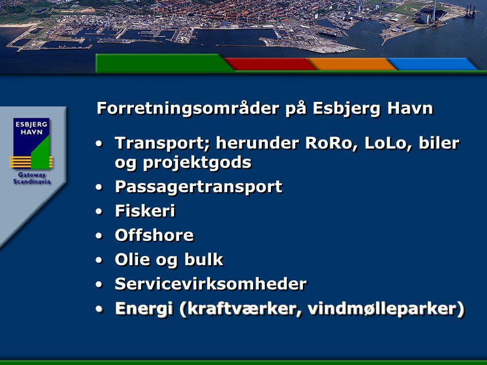Forretningsområder på Esbjerg Havn Transport; herunder RoRo, LoLo, biler og projektgods Passagertransport Fiskeri Offshore Olie og bulk Servicevirksomheder Energi (kraftværker, vindmølleparker)Energi (kraftværker, vindmølleparker) Transport; herunder RoRo, LoLo, biler og projektgods Passagertransport Fiskeri Offshore Olie og bulk Servicevirksomheder Energi (kraftværker, vindmølleparker)Energi (kraftværker, vindmølleparker)