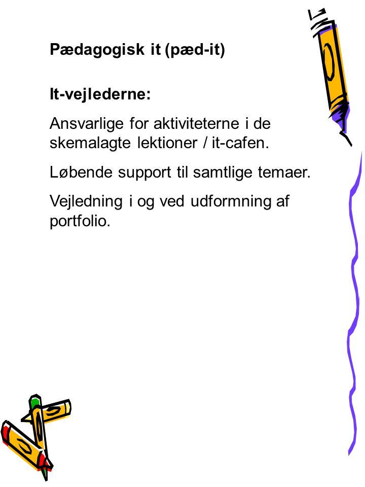 Pædagogisk it (pæd-it) It-vejlederne: Ansvarlige for aktiviteterne i de skemalagte lektioner / it-cafen.