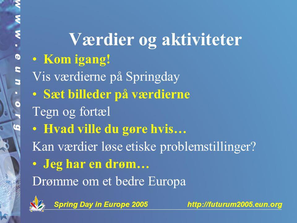 Spring Day in Europe 2005 http://futurum2005.eun.org Værdier og aktiviteter Kom igang.