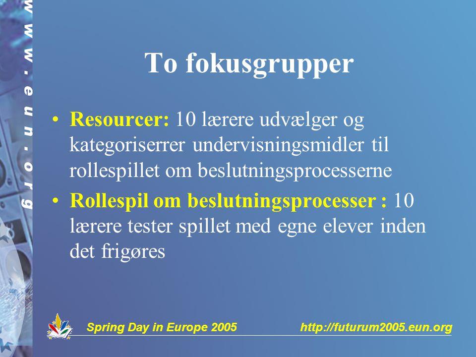 Spring Day in Europe 2005 http://futurum2005.eun.org To fokusgrupper Resourcer: 10 lærere udvælger og kategoriserrer undervisningsmidler til rollespillet om beslutningsprocesserne Rollespil om beslutningsprocesser : 10 lærere tester spillet med egne elever inden det frigøres