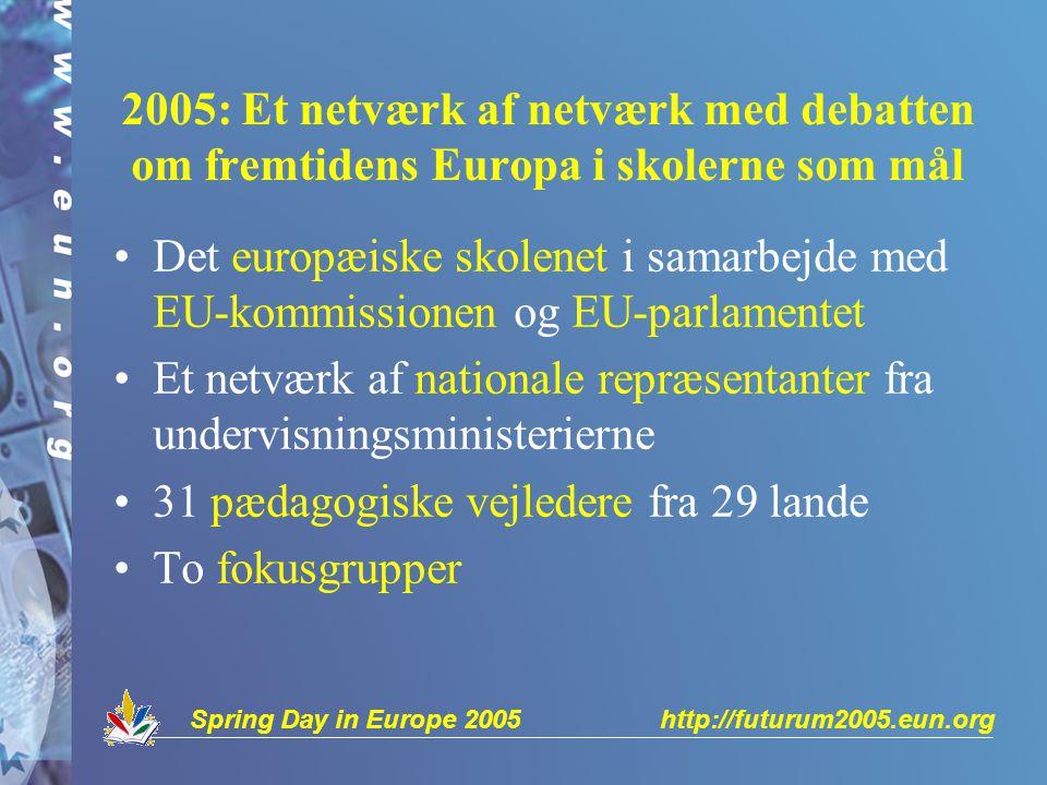 2005: Et netværk af netværk med debatten om fremtidens Europa i skolerne som mål Det europæiske skolenet i samarbejde med EU-kommissionen og EU-parlamentet Et netværk af nationale repræsentanter fra undervisningsministerierne 31 pædagogiske vejledere fra 29 lande To fokusgrupper