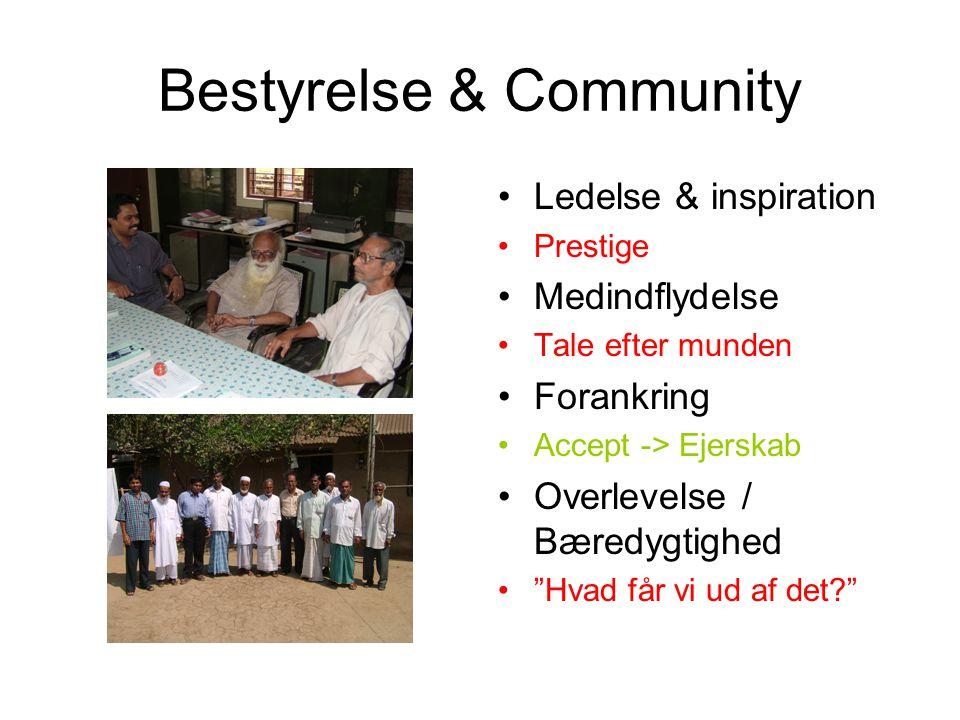 Bestyrelse & Community Ledelse & inspiration Prestige Medindflydelse Tale efter munden Forankring Accept -> Ejerskab Overlevelse / Bæredygtighed Hvad får vi ud af det