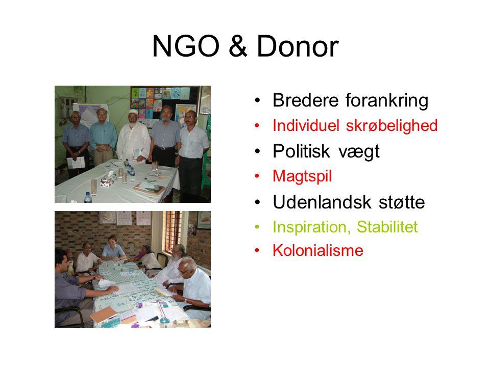 NGO & Donor Bredere forankring Individuel skrøbelighed Politisk vægt Magtspil Udenlandsk støtte Inspiration, Stabilitet Kolonialisme