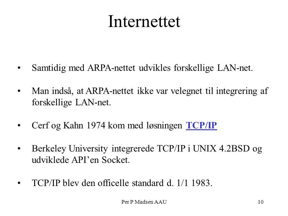 Per P Madsen AAU10 Internettet Samtidig med ARPA-nettet udvikles forskellige LAN-net.