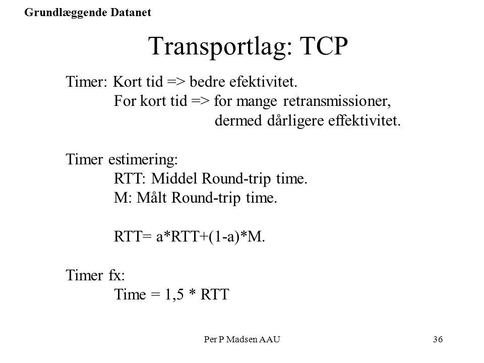 Per P Madsen AAU36 Grundlæggende Datanet Transportlag: TCP Timer: Kort tid => bedre efektivitet.