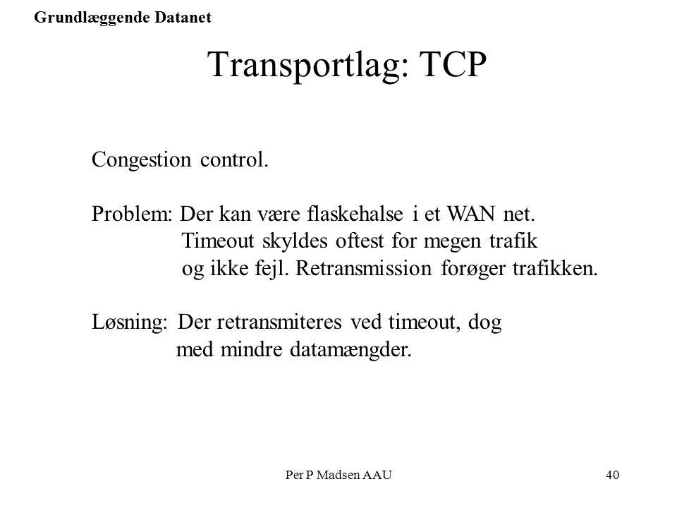 Per P Madsen AAU40 Grundlæggende Datanet Transportlag: TCP Congestion control.
