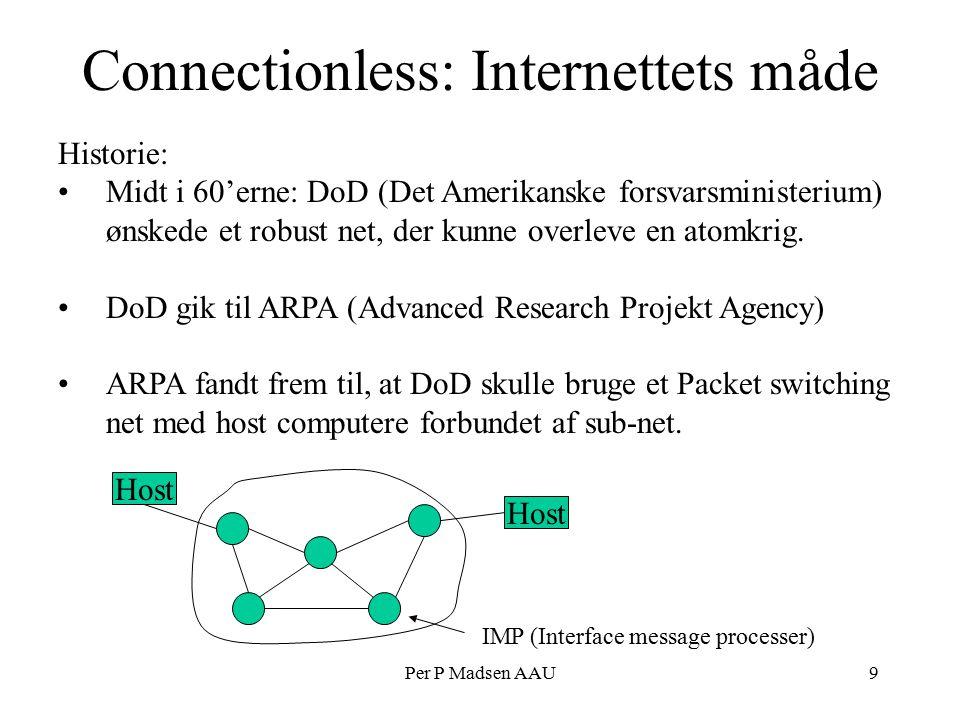 Per P Madsen AAU9 Connectionless: Internettets måde Historie: Midt i 60'erne: DoD (Det Amerikanske forsvarsministerium) ønskede et robust net, der kunne overleve en atomkrig.