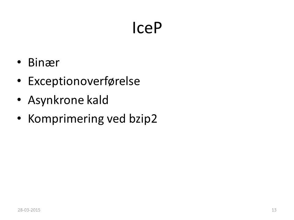 IceP Binær Exceptionoverførelse Asynkrone kald Komprimering ved bzip2 28-03-201513