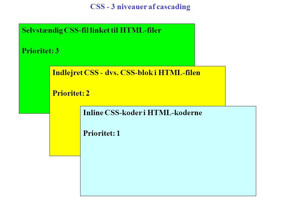 CSS - 3 niveauer af cascading Selvstændig CSS-fil linket til HTML-filer Prioritet: 3 Indlejret CSS - dvs.